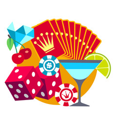 playing in casino flat concept cards cocktail vector image