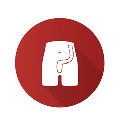 Rectum and anus flat design long shadow glyph icon vector