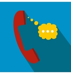 Red handset and speech cloud flat icon vector