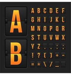 Scoreboard letters and symbols alphabet panel vector image