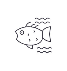 sea fish line icon concept sea fish linear vector image