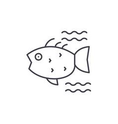 sea fish line icon concept sea fish linear vector image