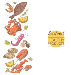 seafood healthy products restaurant menu template vector image