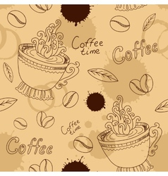 Seamless pattern with cup coffee beans and blots vector image