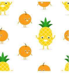 seamless pattern with funny happy pineapple vector image