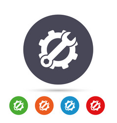service icon wrench key with gear sign vector image