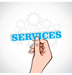 services sticker in hand vector image