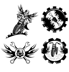 set bikers theme emblems with skullflames and vector image