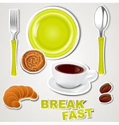 Set icons breakfast vector