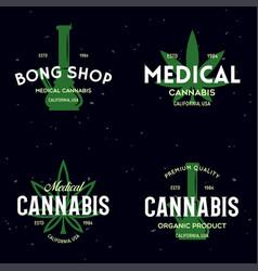 Set modern vintage cannabis logo labels badges vector