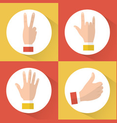 set of hands differents gestures circle icons vector image