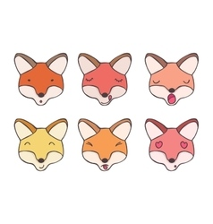 Set smileys foxes vector image