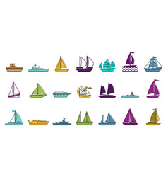 ship icon set color outline style vector image