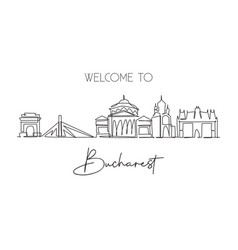 single continuous line drawing bucharest city vector image