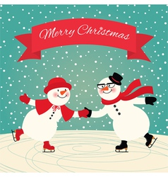 Snowmen Ice skating vector image
