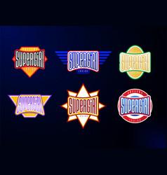 sport emblem typography set super girl hero vector image