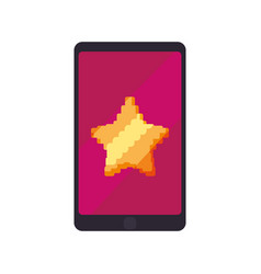 Star pixelated videogame vector