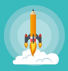 start up launcher pencil rocket vector image
