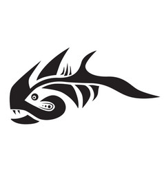 Stylized fish predator isolated icon vector