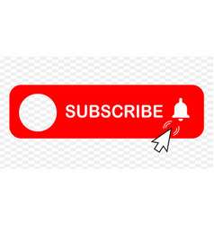 Subscribe - button red color with handon vector