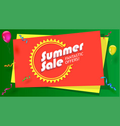 Summer sale fantastic offer poster hot bright vector