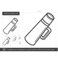 Thermos flask line icon vector