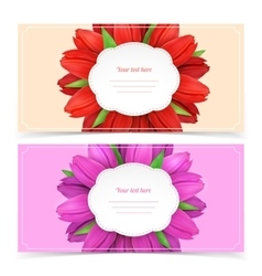 Tulip flowers frame composition vector image