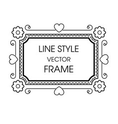 vintage grayscale frame in a line style vector image