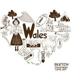 Wales symbols in heart shape concept vector image