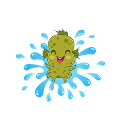 water monster in kawaii style vector image