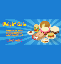 Weight gain concept banner comics isometric style vector