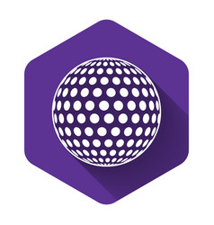 white golf icon isolated with long shadow purple vector image