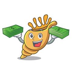 with money bag exotic shell mascot cartoon vector image