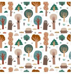 Woodland seamless pattern cartoon forest vector