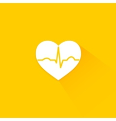 Yellow flat long shadow cardiology icon vector image