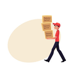 Young courier delivery service worker carrying vector