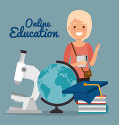 young woman with education online supplies vector image