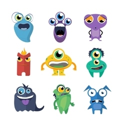 Cute monsters set in cartoon style vector image vector image