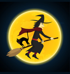 halloween witch flying on broom growl black cat vector image vector image