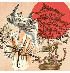 Japan Samurai rhino An hand drawn picture Line art vector image