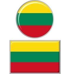 Lithuanian round and square icon flag vector