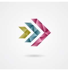 Triangle style arrow sign on a white background vector image vector image
