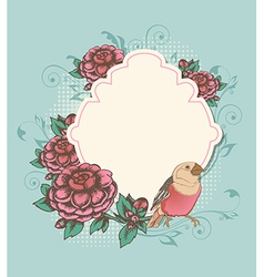 Vintage label with pink roses and bird vector image