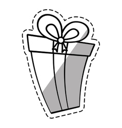 gift box ribbon new package linea shadow vector image