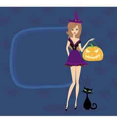 Halloween witch standing with pumpkin vector image vector image