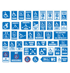 Handicap signs wc and parking icons disabled vector