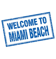 Miami beach blue square grunge welcome isolated vector