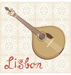 Tipical portuguese fado guitar over azulejo tiles vector image vector image