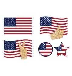 USA flag icon set vector image vector image