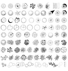 A set of colored treetop symbols vector image vector image